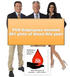 """Behind the scenes at PCH: Yesterday, PCH hosted another blood drive that brought us to a total of 261 pints of blood donated this year! That means more than 750 people have benefited from teh generosity of PCHers! New York Blood Center   """"LIKE"""" this to say congratulations to #PCH and if you think it's a great thing!  Awesome PCH"""