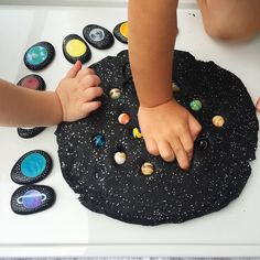 Galaxy Play Dough with Space themed Story Stones! www.acraftyliving.com