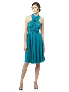 Dessy Twist Wrap Dress in Oasis. Convertible dress in matte jersey that can be wrapped in different styles. $140