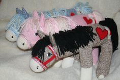 Handcrafted Sock Monkey Horse/Pony available in Pink, Blue or Standard Brown