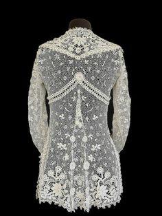 Edwardian Jacket Irish Crochet Tunic Antique Lace Bridal XS S | eBay