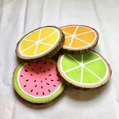 Fruit wood slice coasters // hand painted fruit wood slice coasters by Chicory L. Fruit wood slice coasters // hand painted fruit wood slice coasters by Chicory L. Summer Diy, Summer Crafts, Fun Crafts, Wood Slice Crafts, Wooden Crafts, Driftwood Crafts, Diy Coasters, Wooden Coasters, Diy Painting