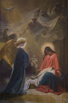 The Annunciation, nella Cattedrale di Mdina, Malta. Blessed Mother Mary, Blessed Virgin Mary, Christian Images, Christian Art, Religious Images, Religious Art, Image Jesus, Pictures Of Jesus Christ, Jesus Painting