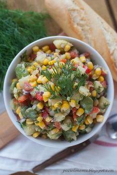 + sałatka ziemniaczana z bobem i kukurydzą