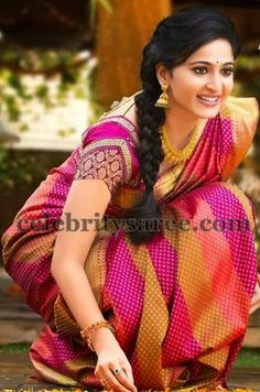 pink saree and blouse, side braid