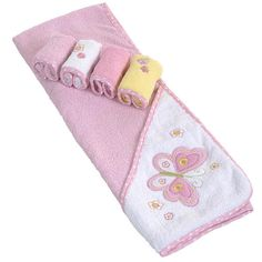SpaSilk Thick Terry Hooded Towel Set with 4 Washcloths - Butterfly Applique - Pink