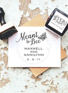 Rustic Wedding Stamps Meant To Bee Rubber Stamp Custom By Theprintmint Favors