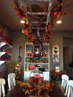 Savvy Seasons by Liz: Fall Tabletop Display. Love the wooden ladder hanging. Hanging Ladder, Ladder Decor, Ladder Display, Autumn Decorating, Fall Decor, Holiday Decor, Country Decor, Farmhouse Decor, Rustic Ladder