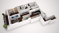 Maqueta 3D rehabilitación vivienda en Madrid Madrid, Polaroid Film, Interiors, 3d, Decoration Home, Decor, Deco