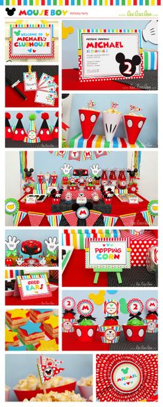Mouse Boy Birthday Party Package Collection Set Mega Personalized Printable Design by leelaaloo.com #leelaaloo #birthday #party