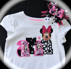 Custom Boutique Girls Toddler Disney Vacation personalized Hot Pink MINNIE Mickey MOUSE APPLIQUE  Shirt child's name Matching Hair Bow Clip