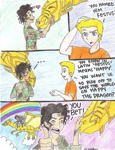 percy jackson funny comic from the lost hero. Oh yeah, Happy the Dragon. Percy Jackson Memes, Percy Jackson Books, Percy Jackson Fandom, Percy Jackson Comics, Magnus Chase, Fandoms Unite, The Lost Hero, Team Leo, Percy And Annabeth