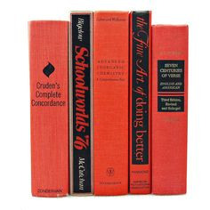 VIVID CORAL Decorative Books, Book Decor, Home, Book Collection Set,... ($35) ❤ liked on Polyvore featuring books