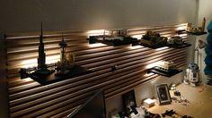 Idea for the lego display shelf. IKEA Hackers: Indirect Lighting for MANDAL headboard using LEGO Lego Display Shelf, Lego Shelves, Lego Storage, Ikea Mandal Headboard, Headboard With Shelves, Diy Headboards, Ikea Bed, Ikea Hacks, Lego Regal