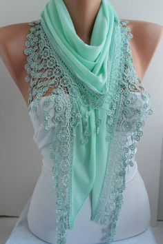 Mint Scarf Shawl Scarf Lace Scarf Mint Cotton Scarf Triangle scarf Headband - Cowl with Lace Edge -Gift- Women's Fashion Accessories DIDUCI on Etsy, Sold Mint Scarf, Lace Scarf, Cotton Scarf, Pashmina Scarf, Cotton Lace, Cute Scarfs, Triangle Scarf, Creation Couture, Mode Inspiration