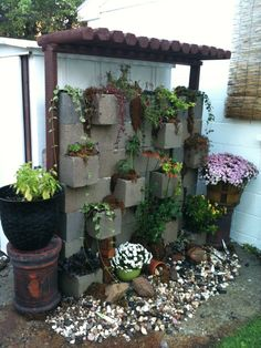 cinder block arbor - good idea to hide an old shed