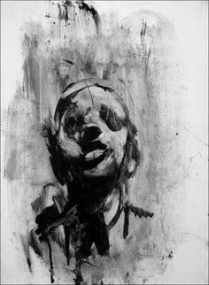 Head Study, Oil on Canvas, Antony Micallef Abstract Face Art, Abstract Portrait, Portrait Art, Dark Art Illustrations, Illustration Art, Charcoal Art, Charcoal Portraits, Modern Portraits, Charcoal Drawing