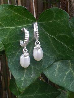 Earrings, pearl, silver, Idylliz