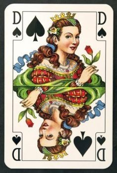 Vintage playing Card, Queen of Spades