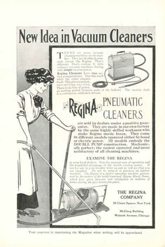 A hand-powered pneumatic vacuum cleaner, circa 1910. An early electric-powered model is also shown