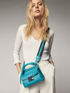 Spring summer 2017 Women´s COMBINED SMALL LEATHER CROSSBODY BAG at Massimo Dutti for 120. Effortless elegance!