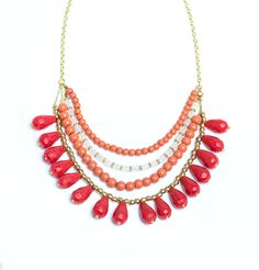 Yamuna Necklace is handmade of glass and brass by women in a fair trade cooperative outside of New Delhi, India