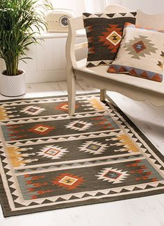 Sakala black handloom kilim rug & cushion cover Fairly Traded from India at Namaste Small Tapestry, Navajo Rugs, Kilim Runner, Kilims, Woven Rug, Soft Furnishings, Kilim Rugs, Boho Decor, Home Accessories