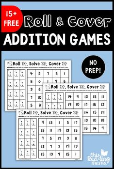 These NO PREP Addition Games are a fun way to get kids practicing their addition math facts! This is the FIRST PACK in our No Prep Math Games Series. You can find ideas on how to use these games… Math Addition Games, Fun Math Games, Dice Games, Mental Maths Games, Printable Math Games, Addition And Subtraction, Math Worksheets, Math Resources, Printable Worksheets