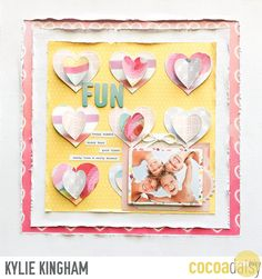 Holiday Fun, by Kylie Kingham using the Under the Sea collection from www.cocoadaisy.com #cocoadaisy #kitclub #scrapbooking #layout #distress #edges #hearts #stitching #frames #ombre #stickers #diecuts #tags #twine
