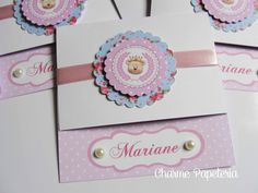 Convite Ursinha Princesa - Floral Azul e Rosa poá
