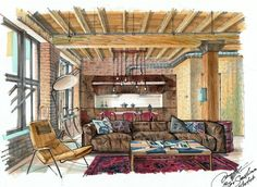 Interior drawing. One point perspective. Interior sketching, hand rendering…