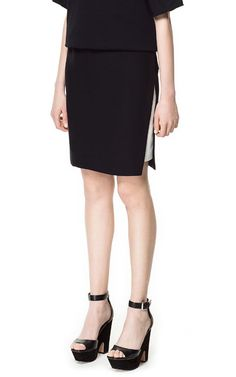 Image 2 of COMBINATION SKIRT WITH SIDE SLITS from Zara