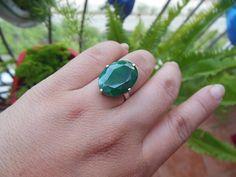 Emerald ring Precious ring Green ring prong ring by Studio1980