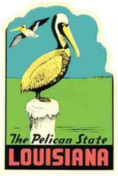 "Louisiana La ""The Pelican State"" Vintage Looking Travel Decal Label Sticker | eBay"