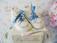 baby shoes vintage | Vintage Felt BABY DEER Baby Shoes Fantastic Condition 1940 With Rare ...