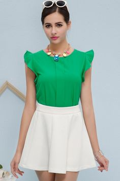 Falbala Chiffon Blouse in Green Womens Fashion Stores, Online Fashion Stores, Chiffon Ruffle, Shirt Blouses, Skater Skirt, Short Dresses, Skirts, Sleeves, Outfits