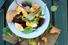 Roasted Beet Salad with Egg and Honey Balsamic Dressing