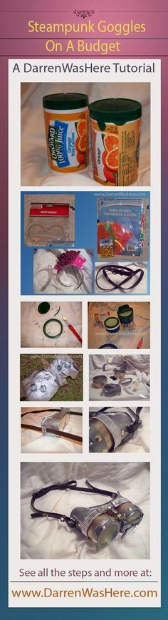 This is a Increadible creative DIY...lots of GREAT ideas!!!  DIY Steampunk Goggles On A Dollar Tree Budget via @Darren Himebrook Himebrook Himebrook Himebrook Himebrook WasHere