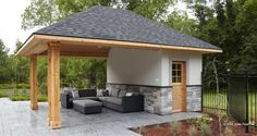 Build ANY Shed In A Weekend - outdoor pool house cabana … Our plans include complete step-by-step details. If you are a first time builder trying to figure out how to build a shed, you are in the right place! Pool Cabana, My Pool, Pool House Shed, House Roof, Small Covered Patio, Covered Pergola, Small Patio, Small Pool Houses, Pool House Designs