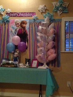 Frozen Birthday Party love the cotton candy stand Frozen Themed Birthday Party, Disney Frozen Birthday, 6th Birthday Parties, Birthday Ideas, 7th Birthday, Little Girl Birthday, Festa Party, Party Time, Candy Stand