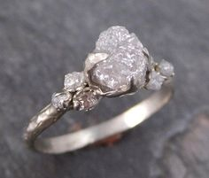 Raw Diamond White gold Engagement Ring Rough Gold Wedding Engagement Ring