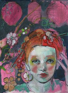 Paper Dreams- Fine Art Reproducion Block by Maria Pace-Wynters Art And Illustration, Mix Media, Mixed Media Art, Figure Painting, Painting & Drawing, L'art Du Portrait, Portraits, Art Visage, Figurative Kunst