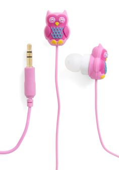 Hoot and Holler Earbuds by Decor Craft Inc. - Owls, Multi, Orange, Pink, Pastel, Quirky