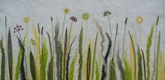 Filz-Wiese mit Klöppelgräsern Lace Art, Bobbin Lace, Cactus Plants, Textiles, Creative, World, Felt, Bobbin Lace Patterns, Felting