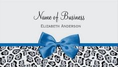 Chic Grey Jaguar Print With Cobalt Blue Bow Business Card  http://www.zazzle.com/chic_grey_jaguar_print_with_cobalt_blue_bow_business_card-240630337036505747?rf=238835258815790439&tc=gbcwebpin A chic grey jaguar print business card with a girly cobalt blue ribbon tied into a bow. This trendy animal print business card can be personalized by adding the name of your company or fashion boutique and contact information.