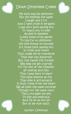 Down syndrome creed