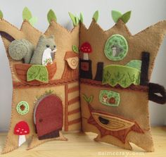 Welcome to Squirrels Happy Tree Home! This treehouse quiet book is as fun to stitch up as it is to play with when youre done! The house has 4 rooms inside, a door that opens, and several places for Squirrel to sit. When youre finished playing, close it all up with a button.  This pattern will give you instructions and patterns to make the 9x7 inch (closed) treehouse book as pictured plus the exclusive pattern for Squirrel himself.  **Patterns for Squirrels friends Owl and Fox are sold…