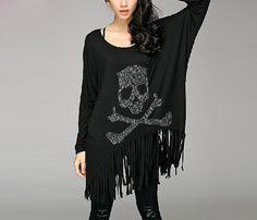Fashion Black Skull Sweater Dress/Black Punk Loose Fit Plus Size Clothes/Skull Plus Size Tshirt Fall Dresses