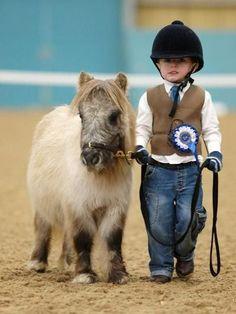 miniature horse + miniature human: the cuteness is unbearable