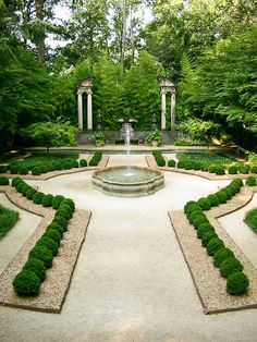 formal garden with fountain...